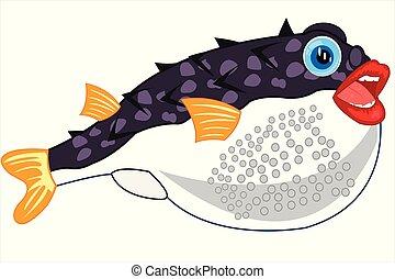 fugue, isolé, fish, fond blanc