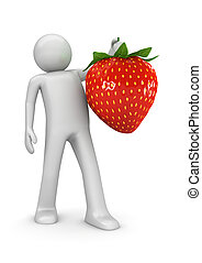 Fuits collection - Man with sweet strawberry