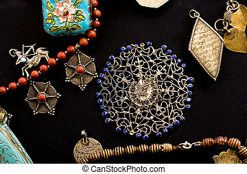 fuja, itens, antigas, jóia, mercado