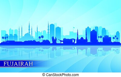 fujairah, 都市 スカイライン, シルエット, 背景