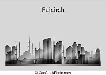 Fujairah city skyline silhouette in grayscale