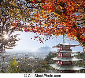 fuji , φύλλα , φθινόπωρο , mt. , άγαλμα , ιαπωνία , ...