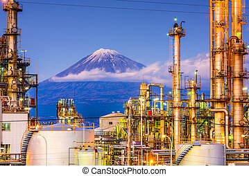 Fuji and Factories - Mt. Fuji, Japan viewed from behind ...