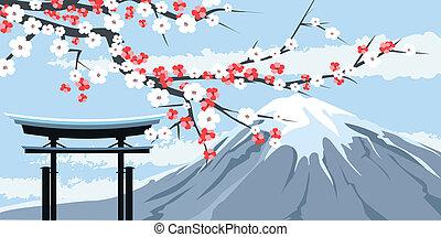 fuji, cereja, monte, gráfico, flores