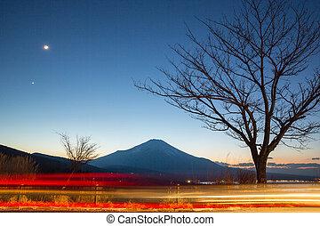 fujisan at dusk - Fuji fujisan at dusk from yamanaka lake at...
