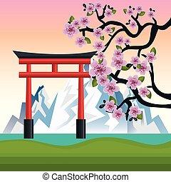 fuji, japón, monte, bienvenida, diseño