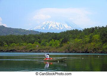 Fuji, Japan - Japan landscape with Mount Fuji - Lake Saiko ...