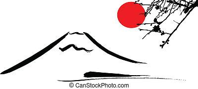 fuji, kyoto, opstellen, aanzicht
