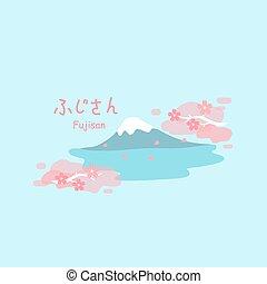 fuji, montanha, flor cereja