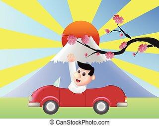 fuji, montanha, frente, carro vermelho