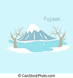 fuji, montanha, neve