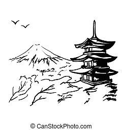 fuji, monter, arbre, illustration, pagode, sakura, japon, paysage