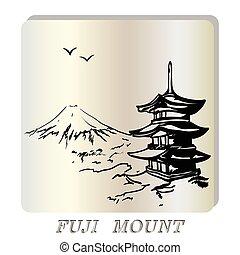 fuji, monter, illustration, pagode, japon, paysage
