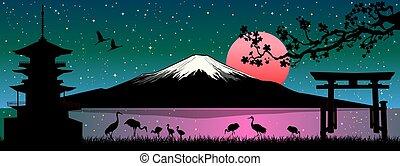 fuji, monter, japonaise, paysage