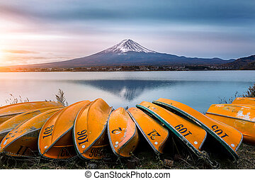 Fuji mountain and boat at Kawaguchiko lake, Japan.