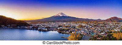 Fuji mountain and Kawaguchiko lake at sunset, Autumn seasons...