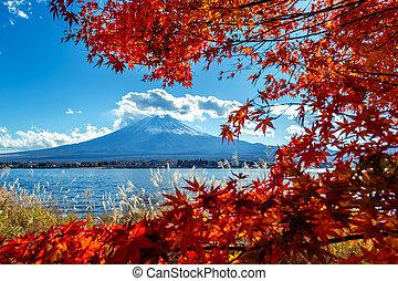 Fuji mountain and Kawaguchiko lake in autumn, Japan.