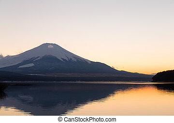 Fuji mountain at evening