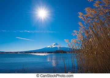 Fuji Mountain at Kawaguchiko Lake in Japan.