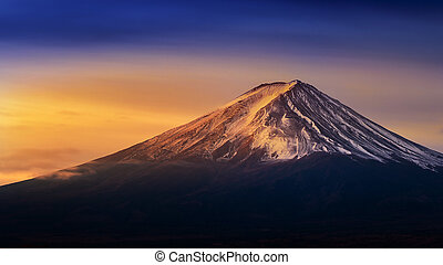 Fuji mountain at sunrise.