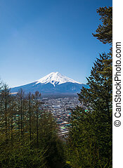 Fuji mountain in Japan. this mountain is the most famous for tourist and traveler.