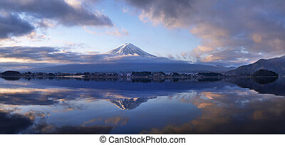 Fuji Mountain Morning on Lake Kawaguchi Panorama