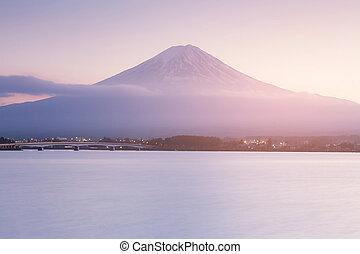 Fuji mountain over Kawaguchiko lake