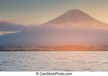 Fuji mountain over Kawaguchiko water lake