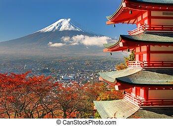 fuji, pagoda, monte.