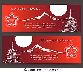fuji, pagode, monter, bannières, japon