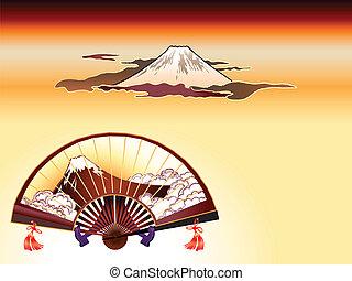 Fuji-san sensu (folding fan) and Mt. Fuji at the cloudy sunset in ukiyo-e style