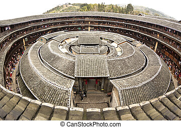 Fujian Tulou house in China. It is the Chinese rural ...