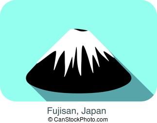 Fujisan, Japan, famous landmark flat icon design
