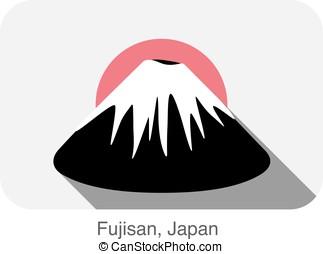 Fujisan, Japan, landmark flat icon design