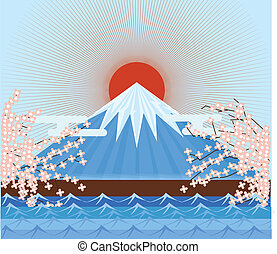 Fujiyama Japan mountain - Fujiyama Japan mountain symbolic...