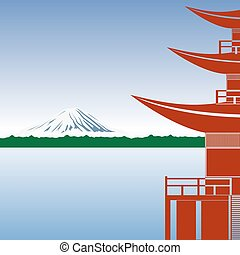 Japanese architecture against the backdrop of Mount Fuji.