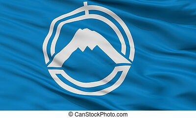 Fujiyoshida City Flag, Japan, Yamanashi Prefecture, Closeup ...