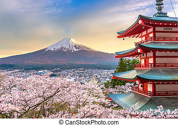 Fujiyoshida, Japan with Mt. Fuji and Chureito Pagoda