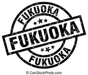 Fukuoka black round grunge stamp
