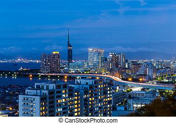 Fukuoka city at night