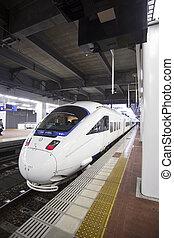 FUKUOKA, JAPAN - OCTOBER 24: Shinkansen in Fukuoka, Japan on Oct