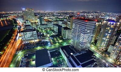 Fukuoka, Japan - Time lapse of Fukuoka, Japan skyline.
