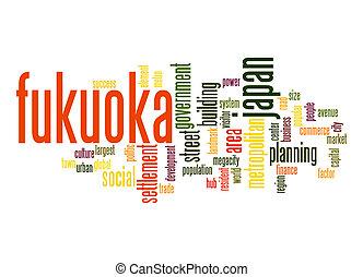 fukuoka, palavra, nuvem