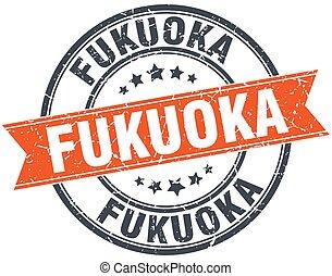 Fukuoka red round grunge vintage ribbon stamp