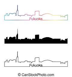 Fukuoka skyline linear style with rainbow.eps