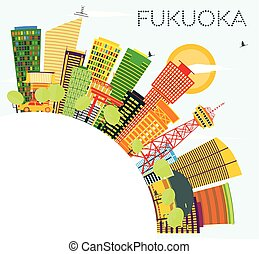 Fukuoka Skyline with Color Buildings, Blue Sky and Copy Space.