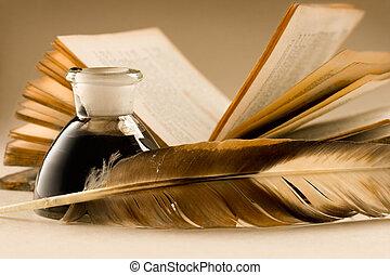 fulde, gamle, bog, inkpot, blæk, fjer
