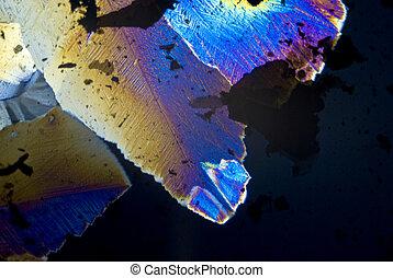 fuligem, partículas, e, microcrystals, em, luz polarizada