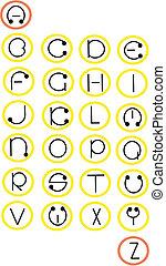 Full alphabet in wheels - vector.