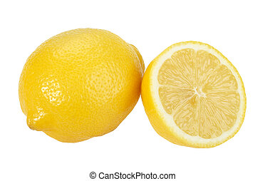 Full and cross section of yellow lemon. Isolated on white ...